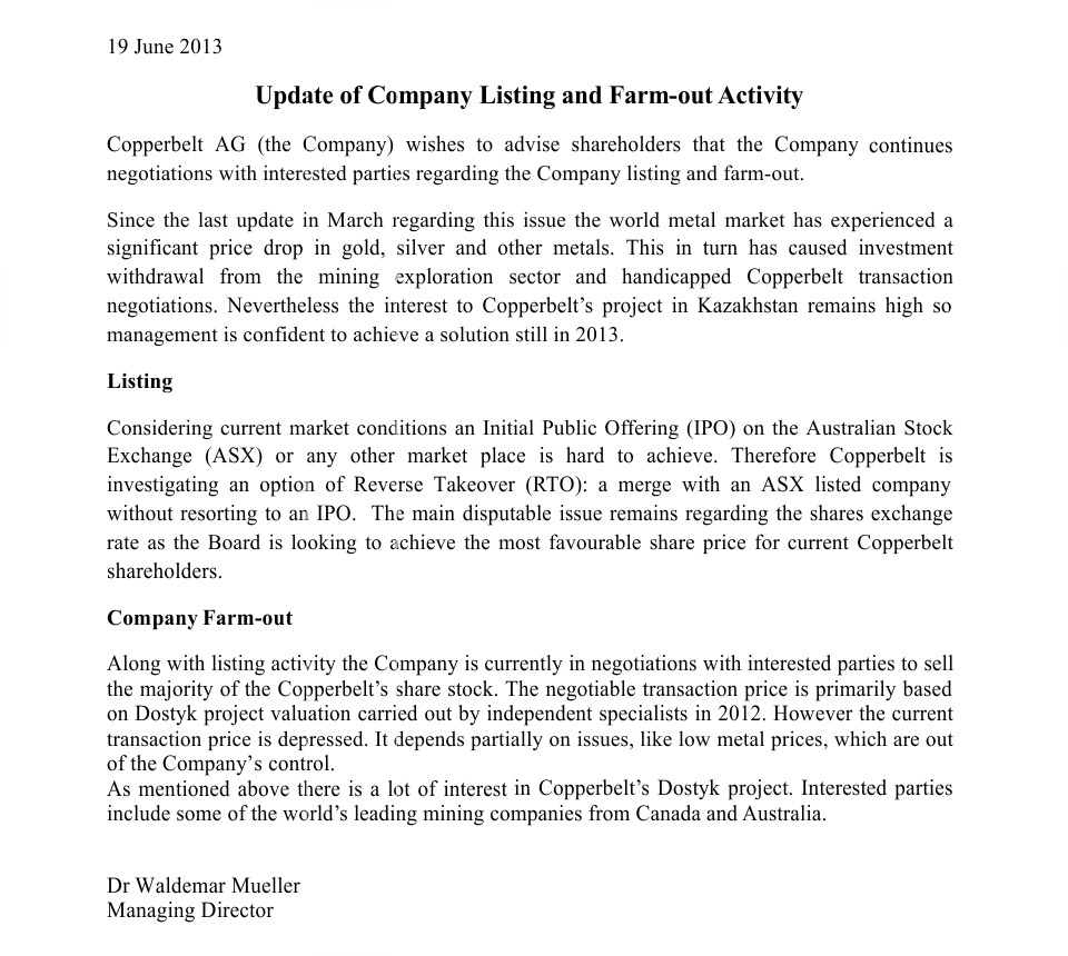 19 Jun 2013 Update Of Company Listing And Farm Out Activity